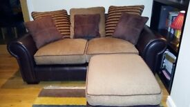 Leather & chenille sofa - great condition!