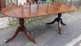 Regency dining table,mahogany,155-215CM,extendable,castor,sit 12,locks broken but very good surface