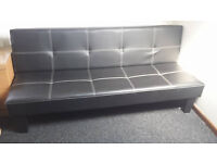 FAUX LEATHER BLACK CLICK CLACK SOFA BED, NEVER USED