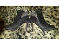 Black suede ankle boots size 7