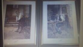 Vintage litho Prints Golfing framed triple signed