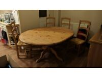 3 PIECE COLLAPSIBLE HEAVY SOLID COUNTRY KITCHEN WOODEN PINE TABLE,KITCHEN DINING ROOM, CAN DELIVER