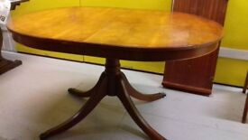 Regency dining table,Yew wood,140-180CM,extendable,strong bow,no chairs