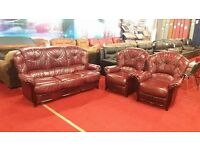 3 piece red leather suite with wood trim