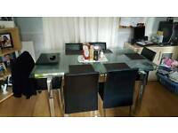 Glass rectangular extended table with 6 chairs