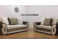 CLIO CRUSHED VELVET GOLD/MINK CORNER OR 3+2 SOFA | UK EXPRESS DELIVERY