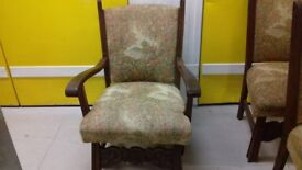 1 carved chair,carver,solid oak,sturdy,stable,cushion not clean,no table