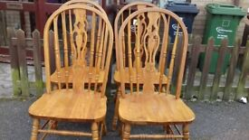 4 dining chairs,solid oak,carved back,high back,good physical condition,VGC
