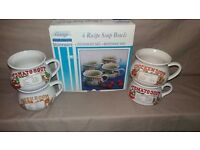 Set Of 4 Vintage Recipe Soup Bowls- Good Cond. Boxed