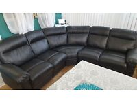 Leather corner sofa recliner and arm chair recliner (black), very good condition