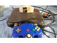 nintendo 64 console complete with game