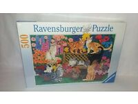 Ravensburger Jigsaw Puzzle 500 Pieces GARDEN PARTS Cats Brand New & Sealed
