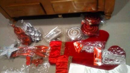 New Red and silver Christmas decorations