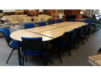 Foldawy boardroom table with 12 chairs