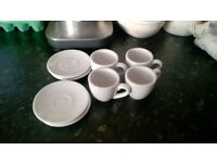 Set of four 2-ounce espresso cups and saucers in white