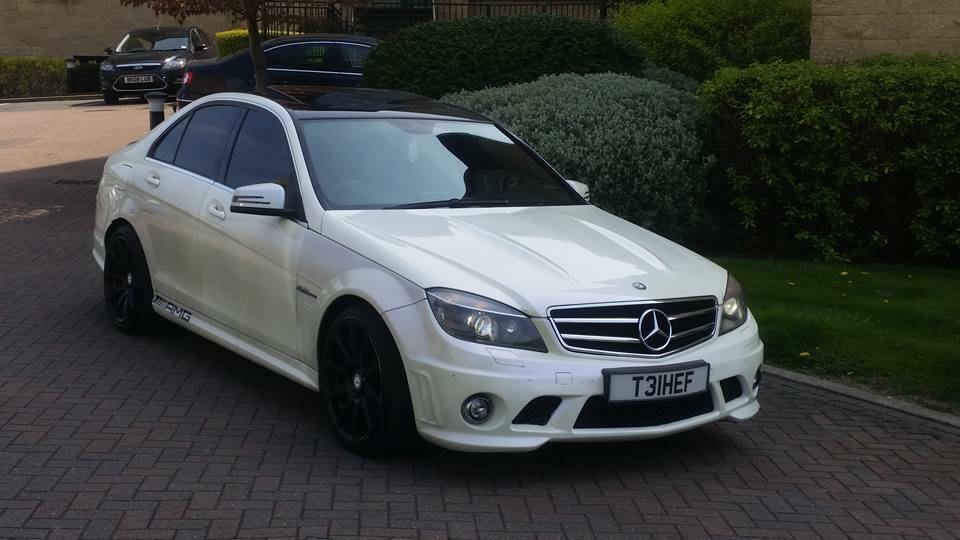 2008 58 mercedes c class c63 6 3 amg 4 door pearl white. Black Bedroom Furniture Sets. Home Design Ideas