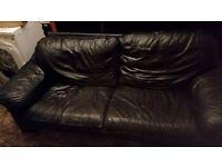 Ikea black leather sofas