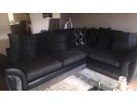 Black and grey large left hand corner sofa