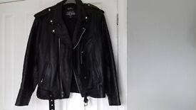 Gents Black Leather Biker jacket - XXL