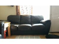 Brown Leather 3 Seater Sofa For Sale - Free Delivery some areas