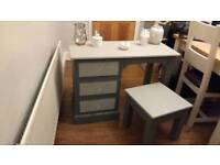Upcycled Solid pine wooden dressing table and stool