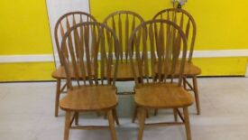 5 dining chairs,solid oak,Windsor style,carved,good physical condition,very wear