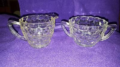 Vintage Block Optic Pressed Glass Creamer & Open Sugar Bowl