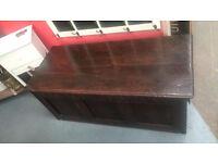 Early Victorian Carved Oak Mule Coffer/Blanket Box