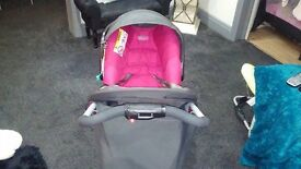 Graco pink pushchair and car seat