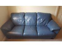 3 seater blue leather sofa