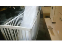 Baby bed 120X60 , Sell baby bed 120X60, white, wooden with mattress, two levels.