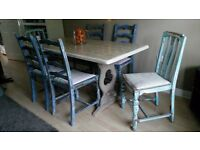 Beautiful shabby chic dining table and six chairs