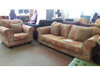 Collins and Hayes fabric design 3 seater lounge sofa with armchair