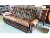 Chesterfield leather sofa (delivery available)