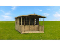 10x8 Summerhouse With 2ft Veranda Shed Garden Office T&G Treated Email Us For Other Sizes
