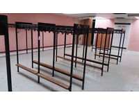 Double sided changing room rails (coat hooks, show rack and 4 teak benches)