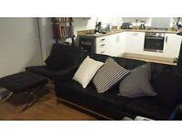 Florence-Knoll-syle black real leather Manhattan sofa