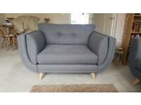 DFS Zuri 2 seater Cuddler Chair/Sofa, Steel Grey, under 1 year old