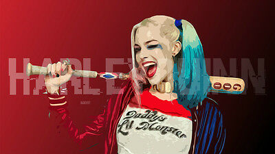 Harley Quinn Margot Robbie Movie Suicide Squa Silk Poster Wallpaper 24 X 13 inch - Suicide Wallpaper
