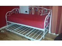 WHITE METALLIC SINGLE GUEST BED