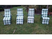 4 reclining garden/patio chairs. Removable, padded cushion. Excellent condition