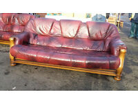 Oxblood leather 2 and 3 seater wood framed sofa set