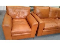 LEATHER TAN SOFA AND CHAIR