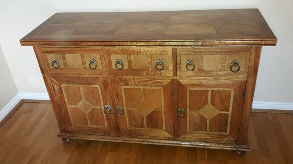 HIGH QUALITY SIDEBOARD UNIT MANGO WOOD FLAGSTONE INLAY SIDEBOARD OAK  FURNITURE DINING ROOM SET