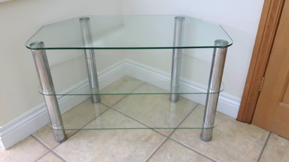 Clear Glass TV Stand - 3 Shelf Compact