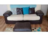 STUNNING LUXURIOUS PAIR OF LEATHER/FABRIC SOFA'S WITH FOOTSTOOL