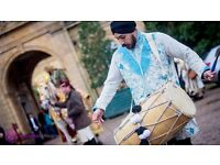 dhol players, brass band baja,dancers in bradford school drumming occasions corporate event asian dj