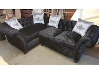 Black Fabric Chesterfield Corner Sofa & Foot Stool | Delivered Within 7 Days