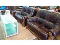 Leather 3 piece suite with thick wood frame