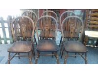 6 dining chairs,solid oak,Jaycee,carved,wheel back,stable,good surface,no table
